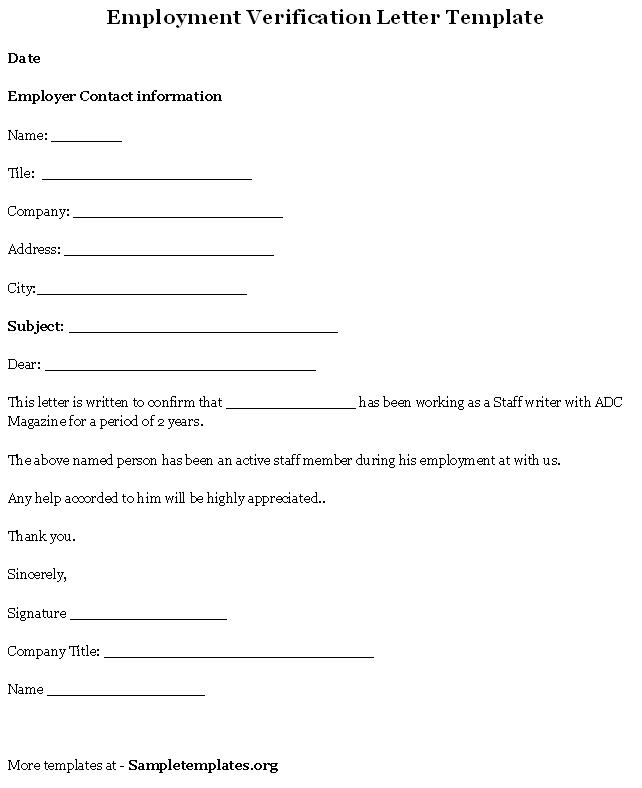 Free Printable Letter Of Employment Verification Form (GENERIC)
