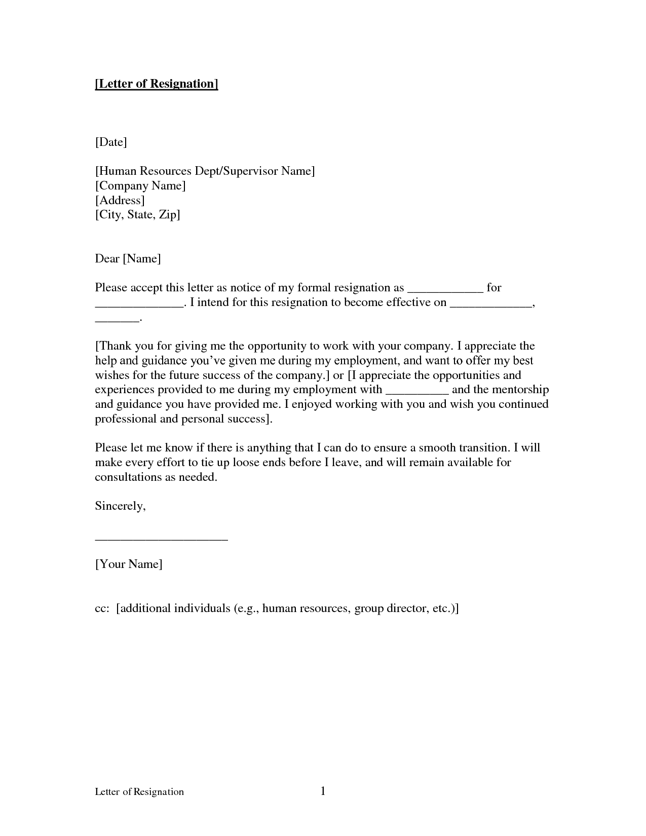Example Of A Letter Of Resignation Resignation Letter Example