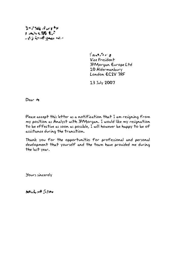 thank you letter for service