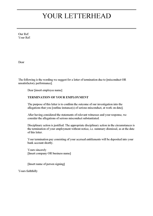 Samples Of Termination Letters To Employee employee termination – Sample Job Termination Letter