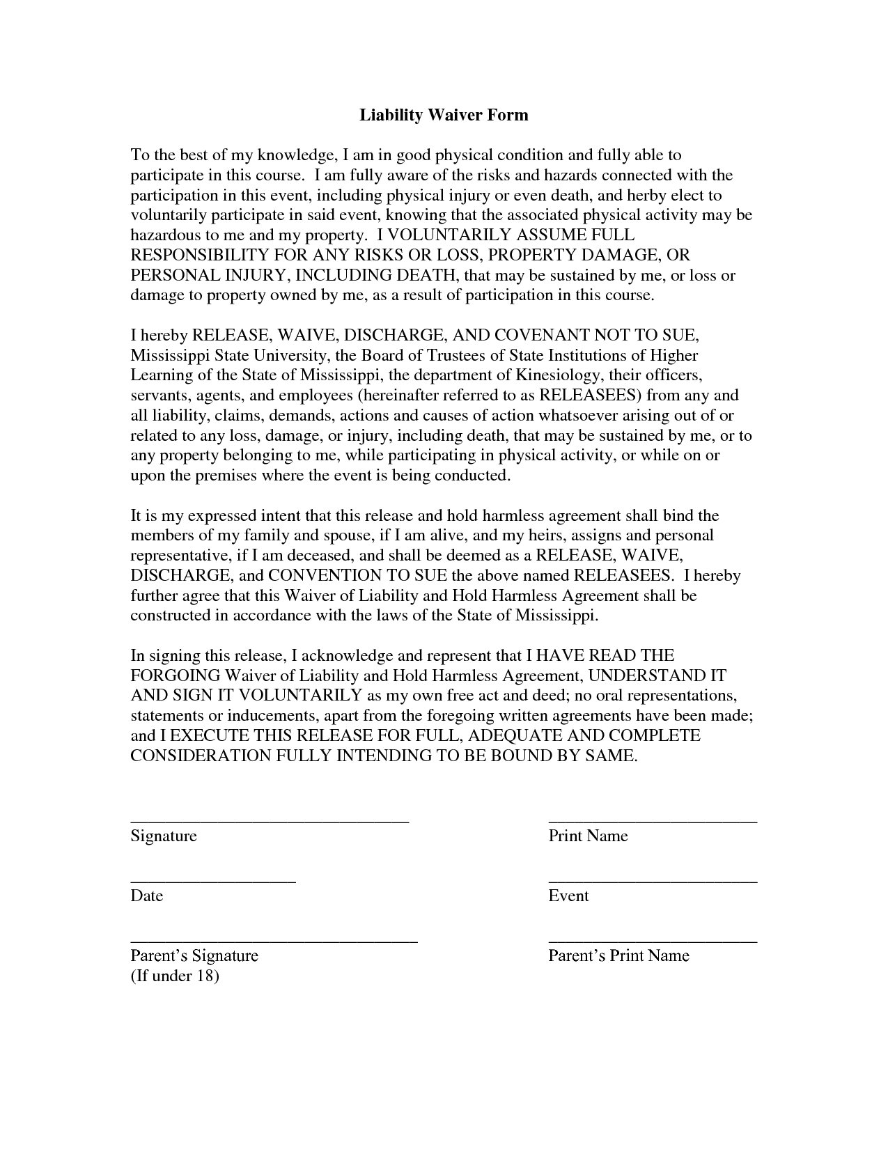 free liability waiver form
