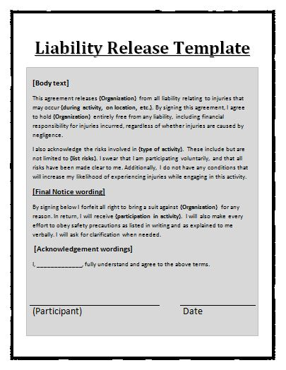 Free Printable Liability Release Form Template Form (GENERIC)