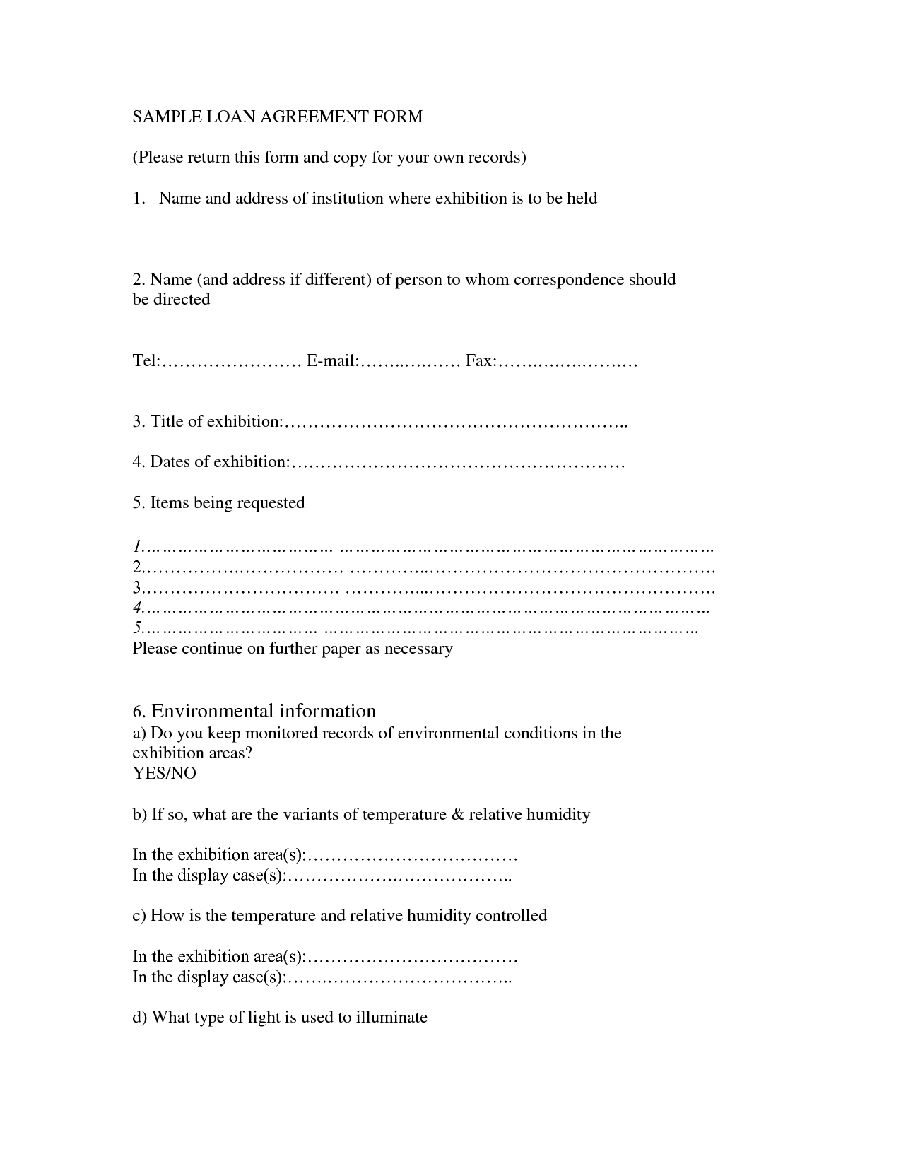 Writing A Loan Agreement Letter Between Friends With Sample Free Printable Loan Agreement Form Form Generic