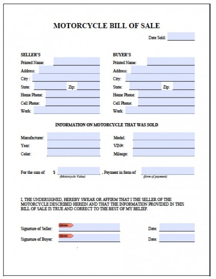 Free Printable Motorcycle Bill of Sale Form (GENERIC) - automotive bill of sales