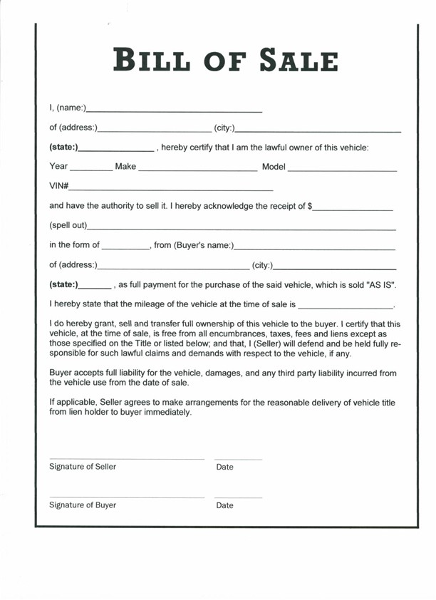 Free Printable Motorcycle Bill of Sale Form (GENERIC)