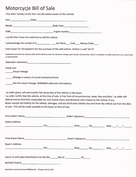 motorcycle bill of sale forms