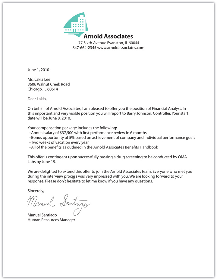 Free Printable Offer Letter Sample Form (GENERIC)
