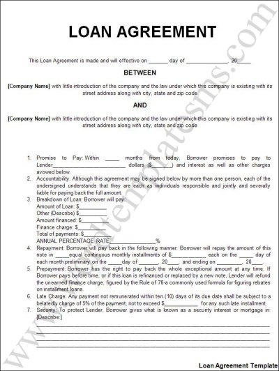 Free Printable Personal Loan Agreement Form (GENERIC)