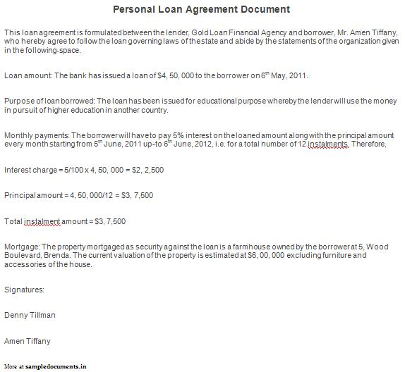 Free Printable Personal Loan Agreement Form (GENERIC) - loan letter agreement