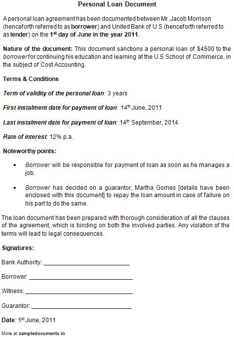 Personal Loan Agreement - personal loan document free