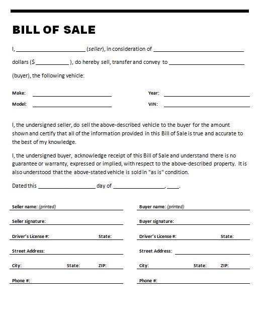 Free Printable Printable Bill of sale for travel trailer Form (GENERIC) - Printable Bill Of Sale