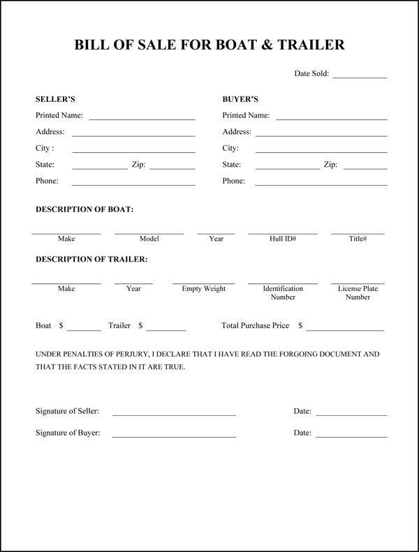 bill of sale form for boat motor and trailer