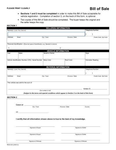 Free Printable Rv Bill of Sale Form Form (GENERIC)