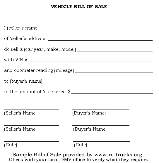 sample of bill of sale for vehicle