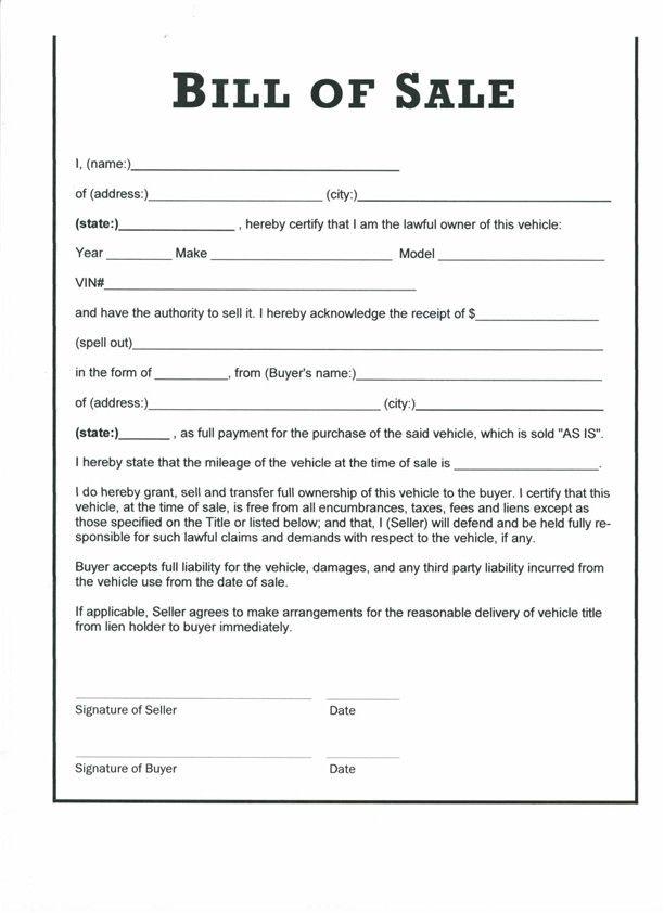 bill sale template - Towerssconstruction