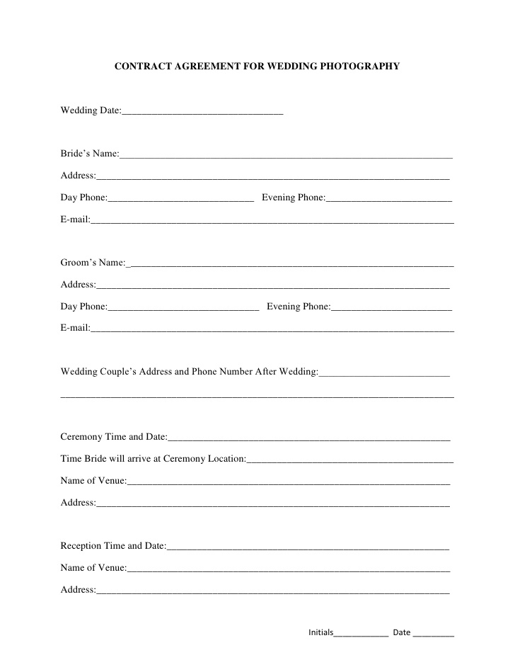 Free Printable Wedding Photography Contract Template Form (GENERIC)
