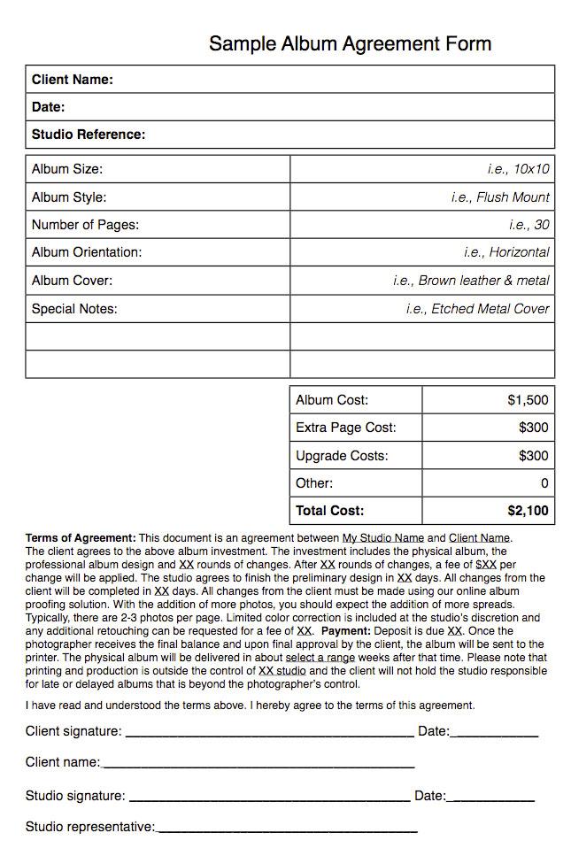 Free Printable Wedding Photography Contract Template Form (GENERIC) - wedding contract template