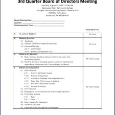 printable board meeting agenda template