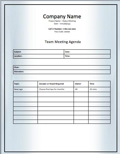 Effective Meeting Agenda Template. 12+ Effective Meeting Agenda ...
