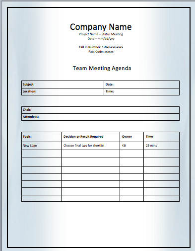 team meeting notes template
