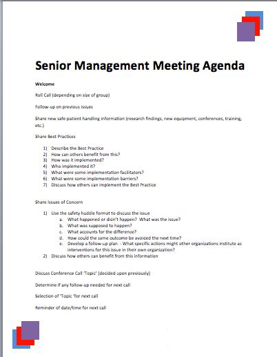 senior management meeting agenda template  u00bb printable meeting agenda templates