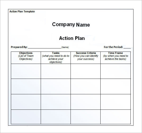 Company-Action-plan paper printable templates