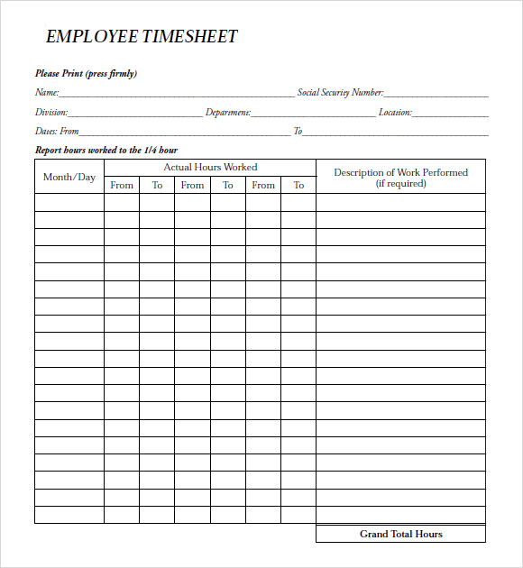 Employee-Timesheet-paper-payroll form templates - free payroll forms