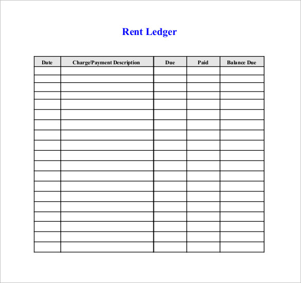 Rental Ledger Template Printable Check Register Sample - 9+ - ledger template free