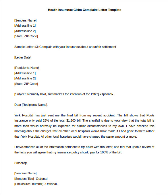 Sample Complaint Letter Business Lovetoknow Insurance Claims Templates Print Paper Templates