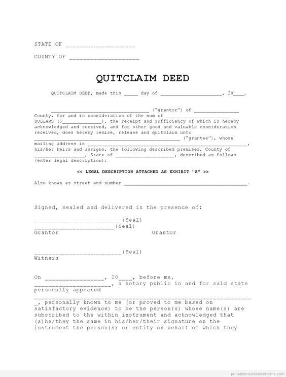 Quit Claim Deed Pdf Quit Claim Deed Quick Claim Deed Form Pdf