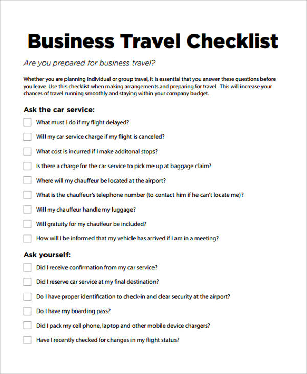 10 Business Trip Checklist Template Print Paper Templates
