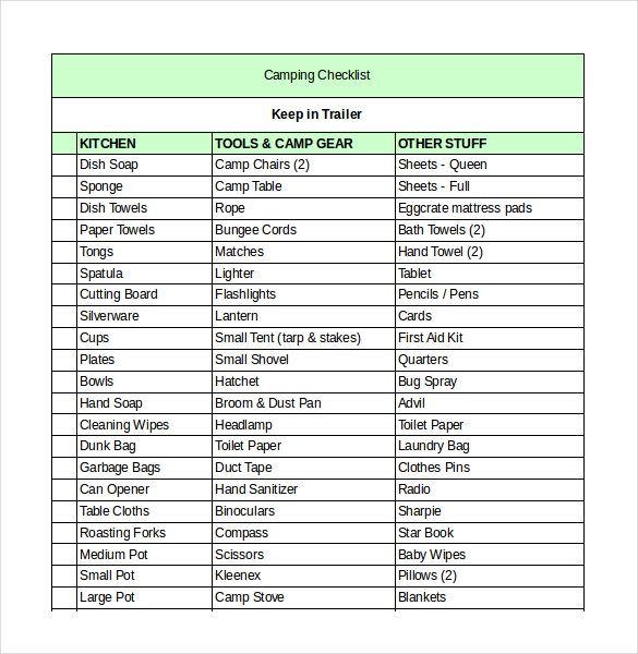 printableCamping-Checklist-Excel-Format-Template-Download