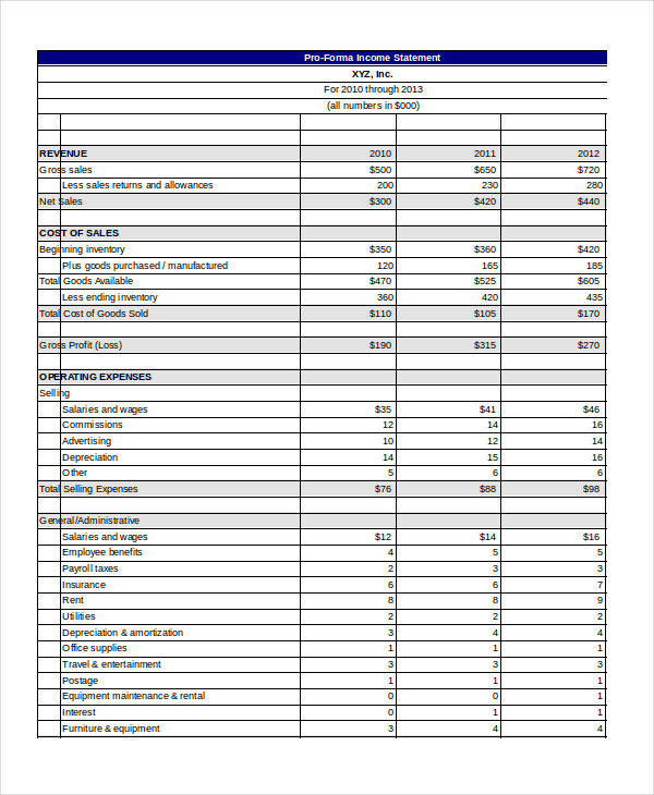 printable-business-Pro-Forma-Income-Statement-Template-Excel - printable income statement