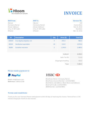 printable-modern invoice templates in wordBanker-Blues-Word - invoice templets