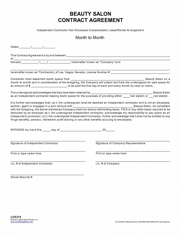 BEAUTYSALON-Independent Contractor Agreement Template \u2013 English - independent contractor agreement form