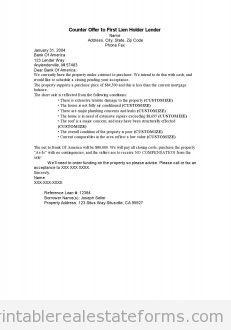 Free Printable Second Offer To First Lien Holder Lender