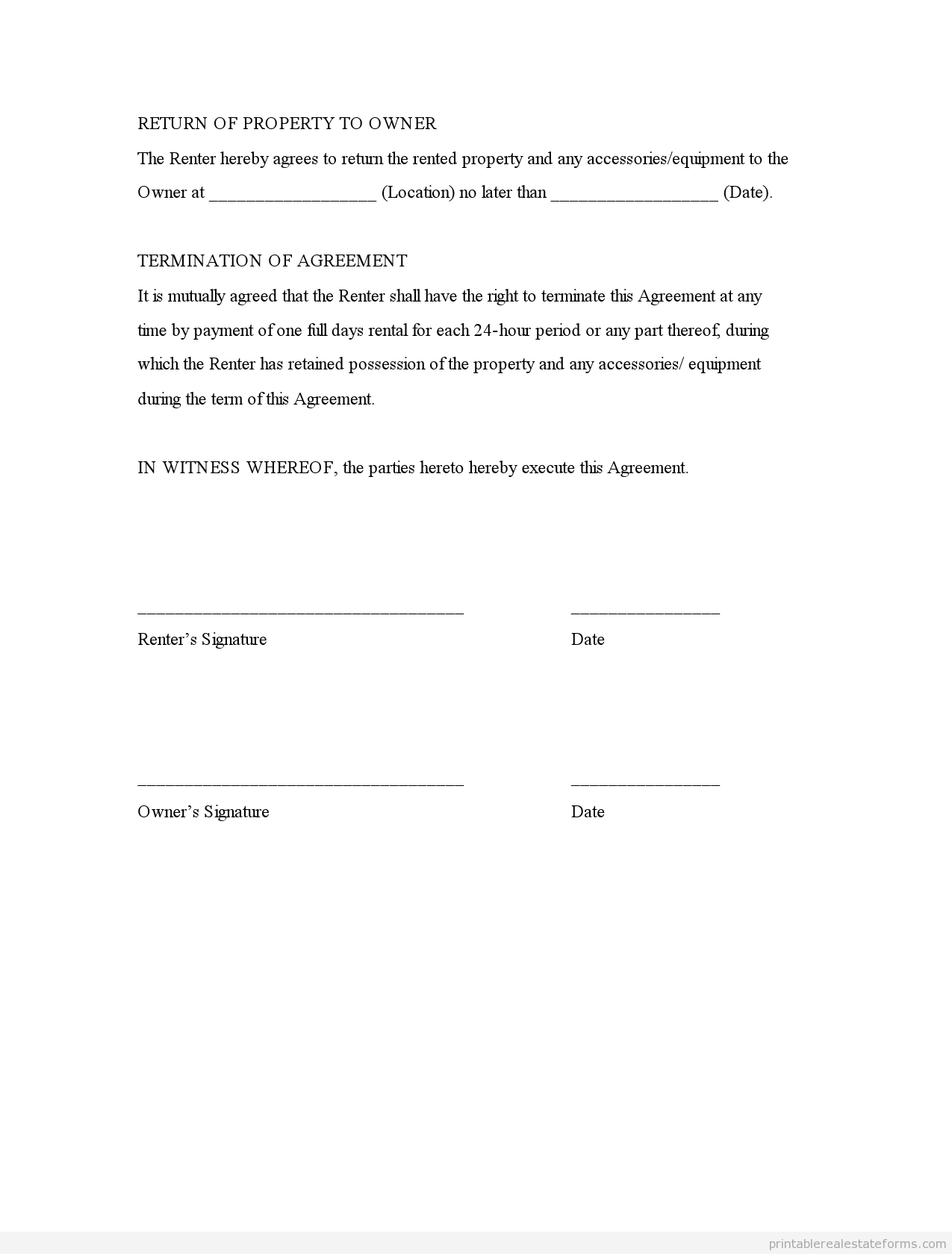 room rental agreement template – Free Printable Lease Agreement Template