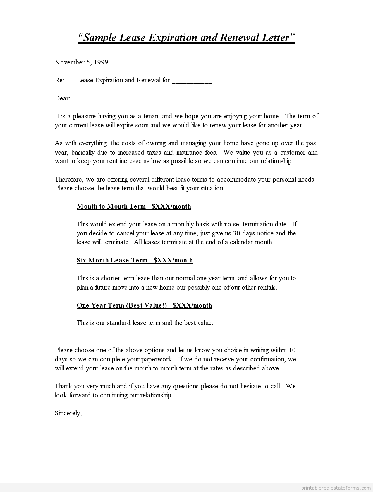 sample letters to tenants