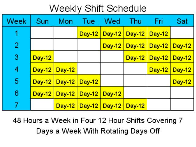 12 Hour Shift Schedule With 7 Days Off printable receipt template