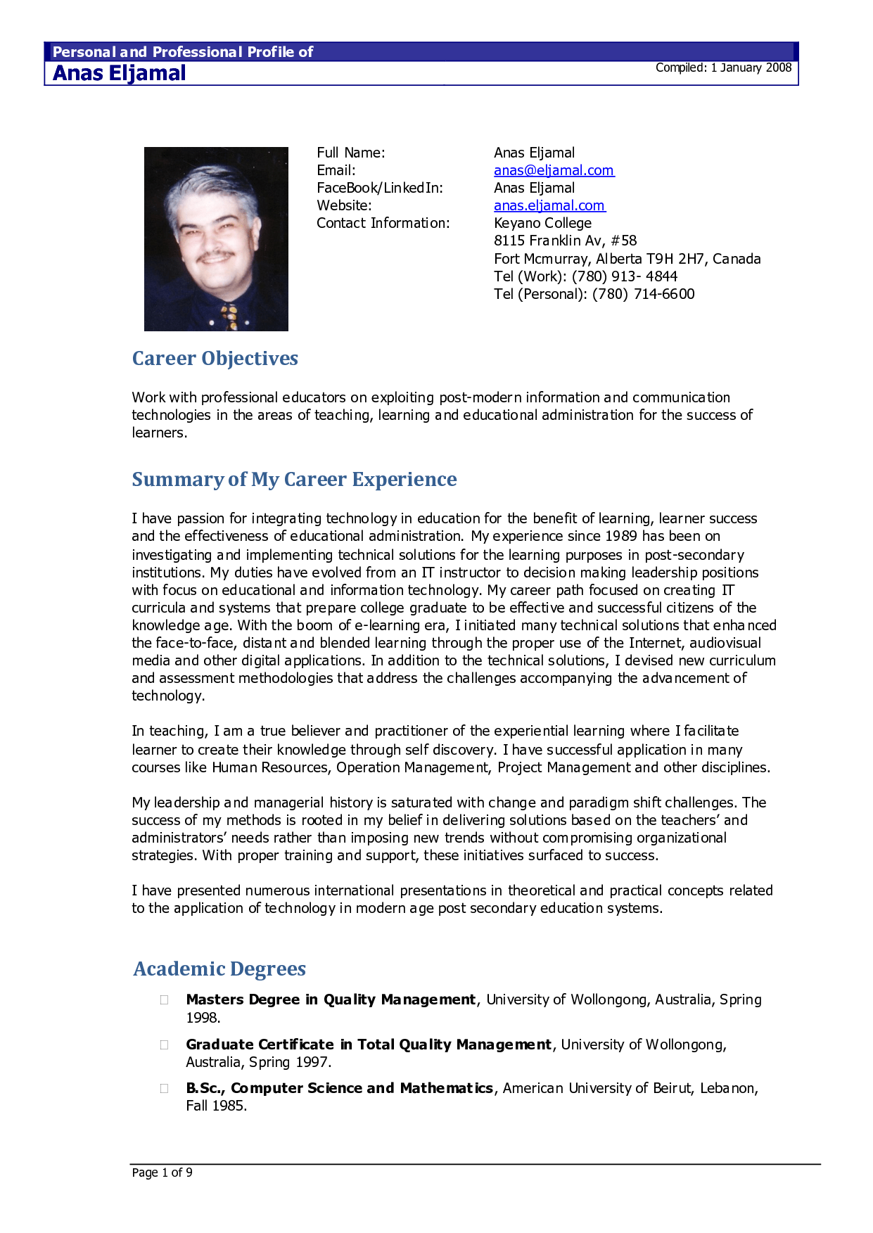 resume title for content writer