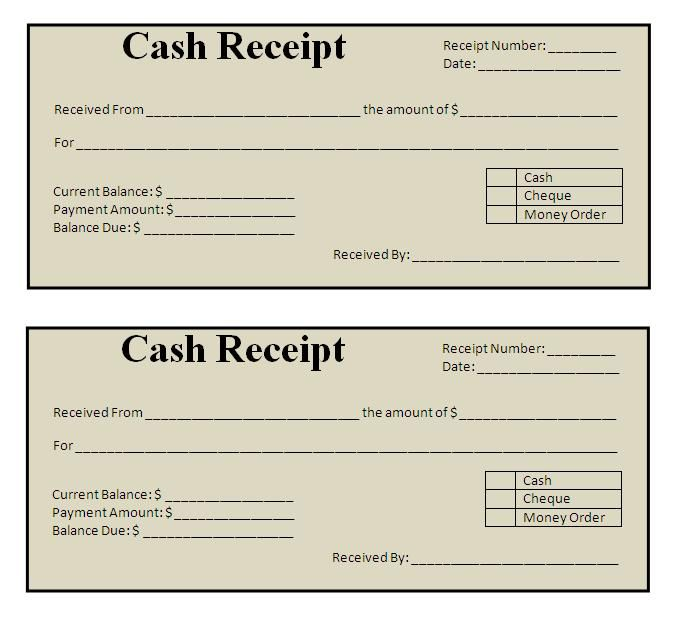 Cash Receipt Template Doc printable receipt template - printable receipt for services