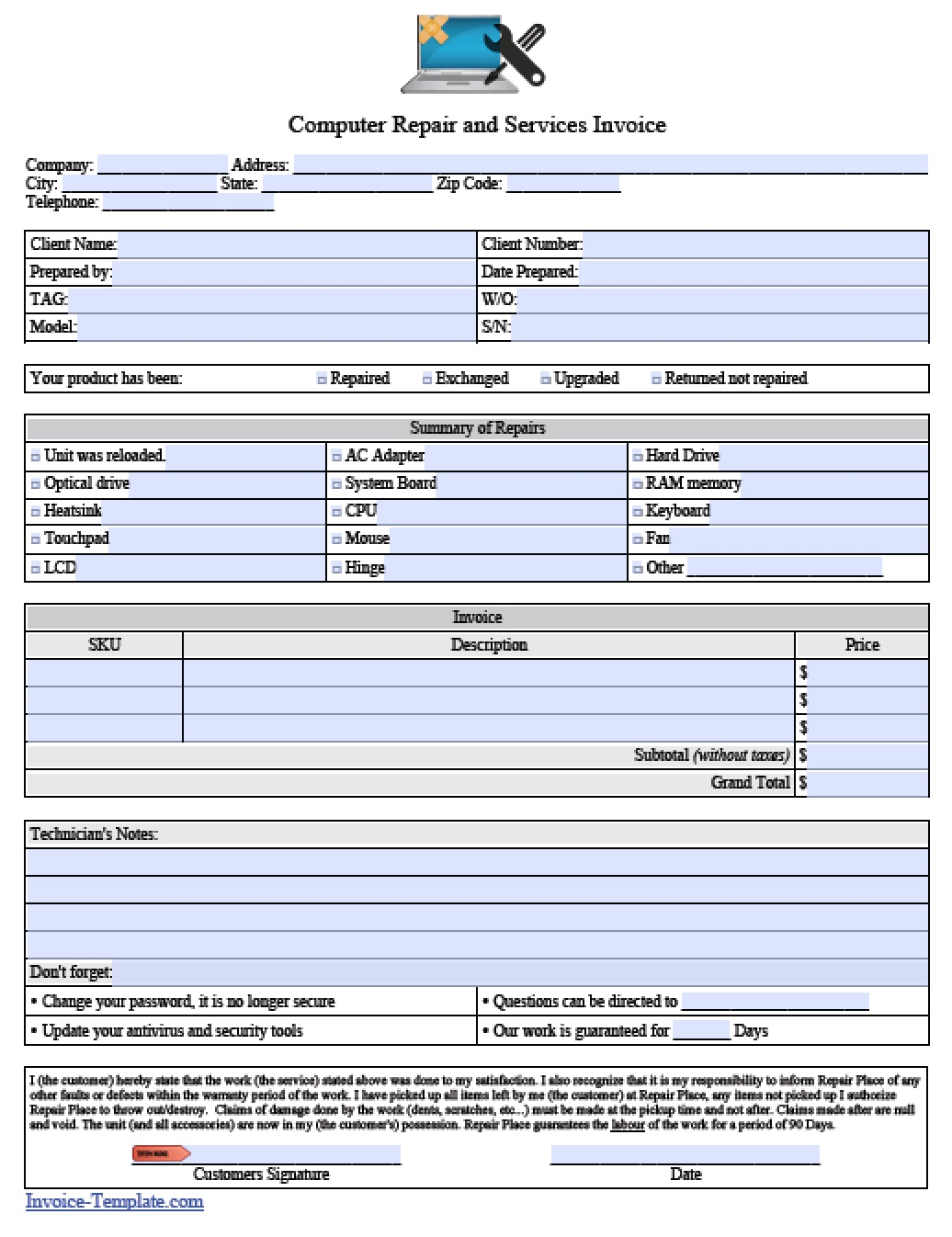 computer service contract template
