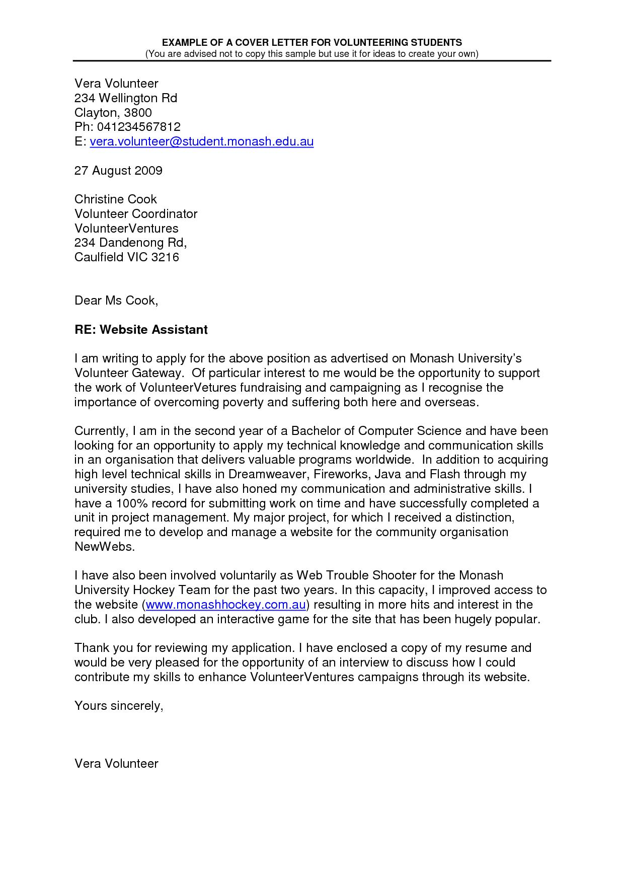 sample volunteer letter