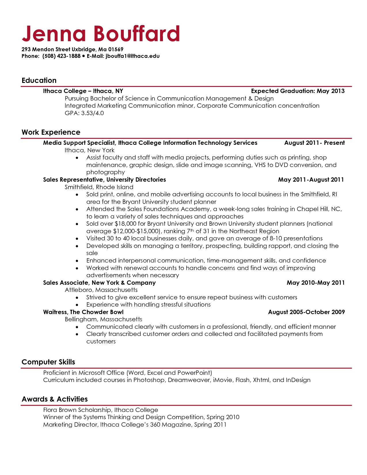 freshman college student resume example