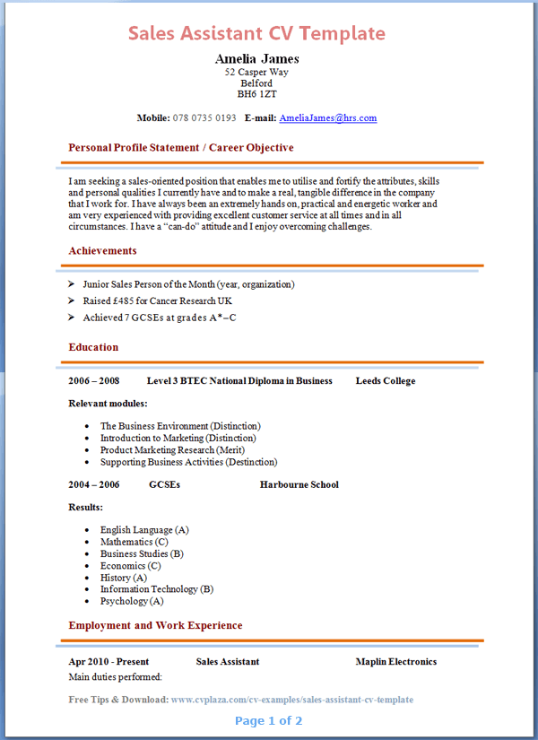 resume examples for sales lady