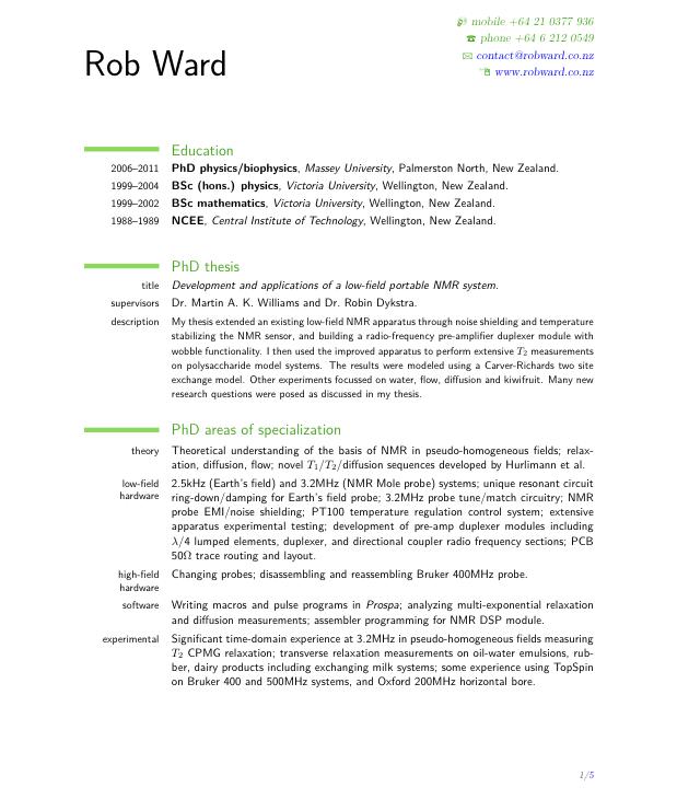 resume example new zealand