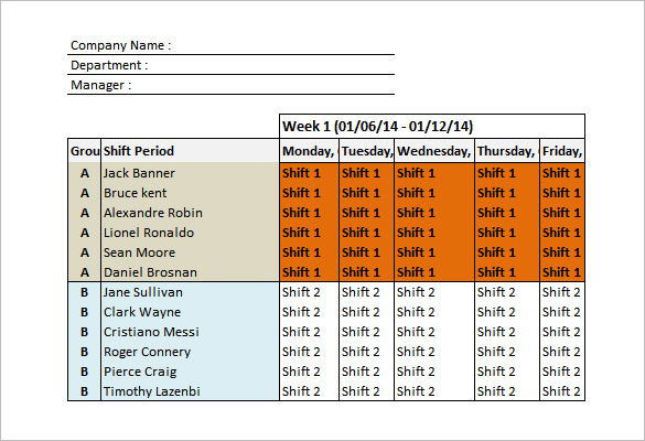 excel day schedule template