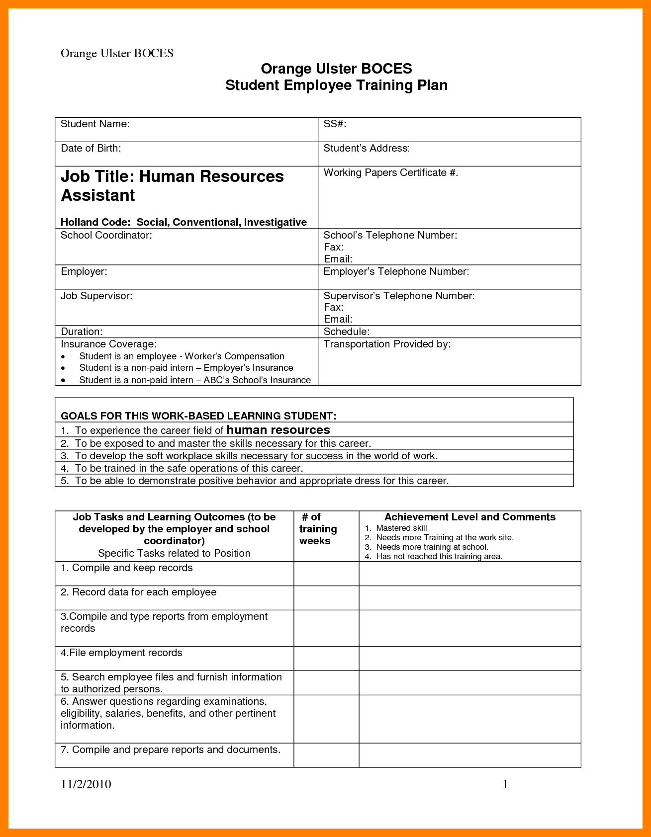 electrical training plan template