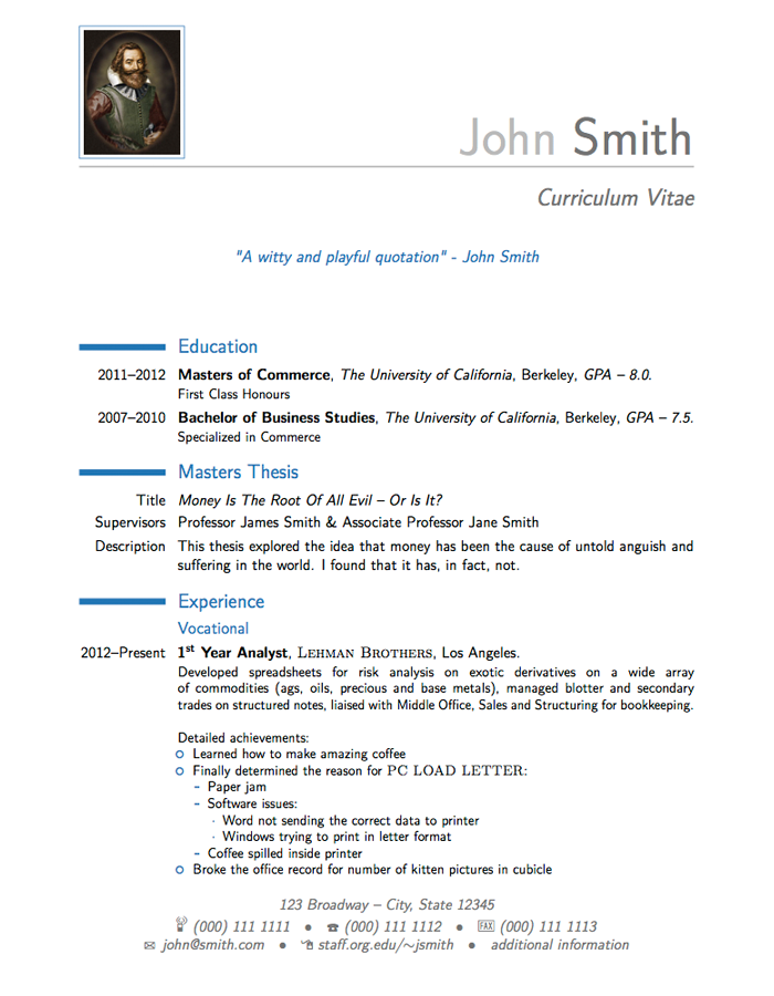 template cv latex moderncv