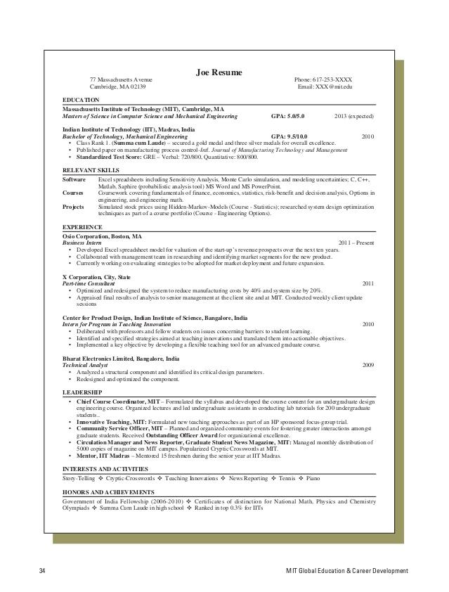 resume template latex mit